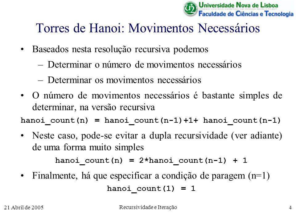 21 Abril de 2005 Recursividade e Iteração 4 Torres de Hanoi: Movimentos Necessários Baseados nesta resolução recursiva podemos –Determinar o número de