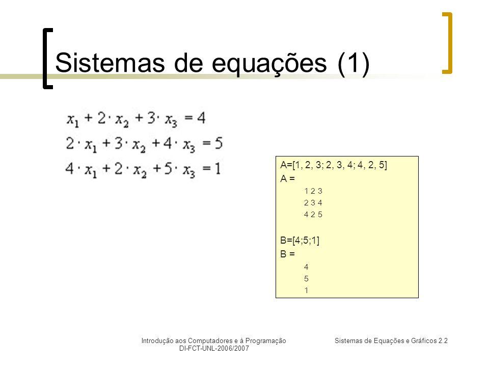 Introdução aos Computadores e à Programação DI-FCT-UNL-2006/2007 Sistemas de Equações e Gráficos 2.2 Sistemas de equações (1) A=[1, 2, 3; 2, 3, 4; 4, 2, 5] A = 1 2 3 2 3 4 4 2 5 B=[4;5;1] B = 4 5 1