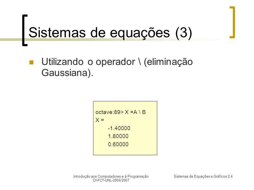 Introdução aos Computadores e à Programação DI-FCT-UNL-2006/2007 Sistemas de Equações e Gráficos 2.4 Sistemas de equações (3) Utilizando o operador \ (eliminação Gaussiana).