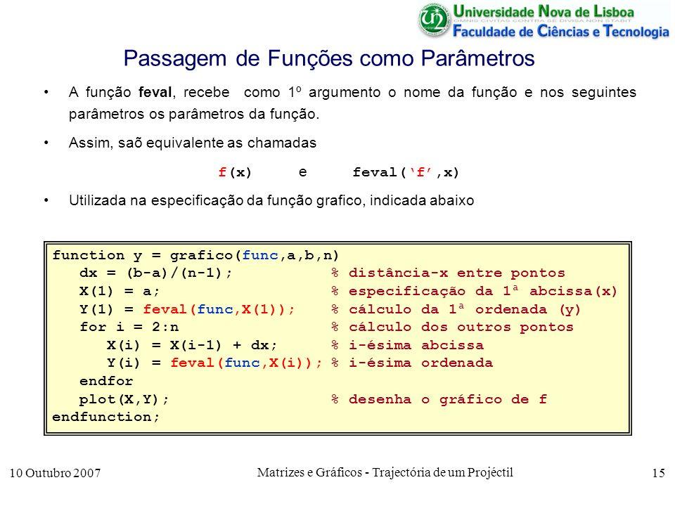 10 Outubro 2007 Matrizes e Gráficos - Trajectória de um Projéctil 15 Passagem de Funções como Parâmetros A função feval, recebe como 1º argumento o nome da função e nos seguintes parâmetros os parâmetros da função.