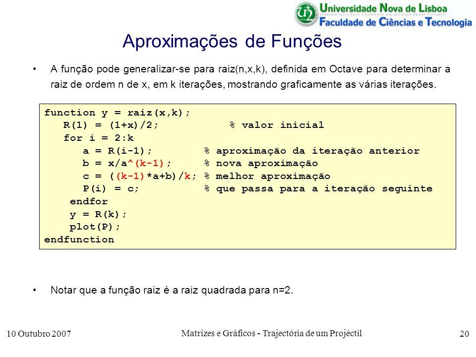 10 Outubro 2007 Matrizes e Gráficos - Trajectória de um Projéctil 20 Aproximações de Funções A função pode generalizar-se para raiz(n,x,k), definida em Octave para determinar a raiz de ordem n de x, em k iterações, mostrando graficamente as várias iterações.