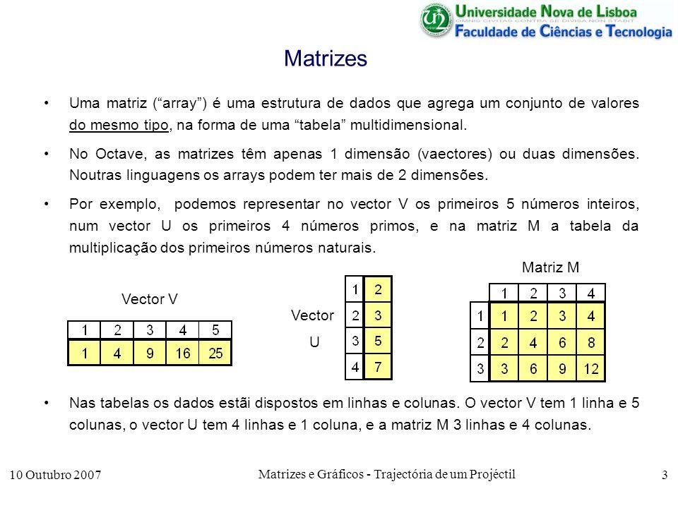10 Outubro 2007 Matrizes e Gráficos - Trajectória de um Projéctil 3 Matrizes Uma matriz (array) é uma estrutura de dados que agrega um conjunto de valores do mesmo tipo, na forma de uma tabela multidimensional.
