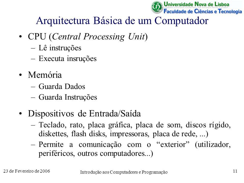 23 de Fevereiro de 2006 Introdução aos Computadores e Programação 11 Arquitectura Básica de um Computador CPU (Central Processing Unit) –Lê instruções