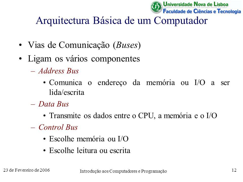 23 de Fevereiro de 2006 Introdução aos Computadores e Programação 12 Arquitectura Básica de um Computador Vias de Comunicação (Buses) Ligam os vários