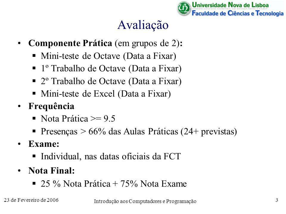 23 de Fevereiro de 2006 Introdução aos Computadores e Programação 3 Avaliação Componente Prática (em grupos de 2): Mini-teste de Octave (Data a Fixar)