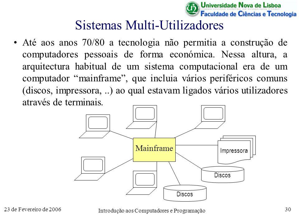 23 de Fevereiro de 2006 Introdução aos Computadores e Programação 30 Sistemas Multi-Utilizadores Até aos anos 70/80 a tecnologia não permitia a constr