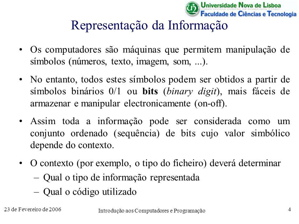23 de Fevereiro de 2006 Introdução aos Computadores e Programação 5 Sistema Decimal 239 9×10 0 = 9 3×10 1 = 30 2×10 2 = 200 239 Sistema Binário 11101111 1×2 0 = 1 1×2 1 = 2 1×2 2 = 4 239 1×2 3 = 8 0×2 4 = 0 1×2 5 = 32 1×2 6 = 64 1×2 7 = 128 0, 1, 10, 11, 100, 101, 110, 111, 1000,...