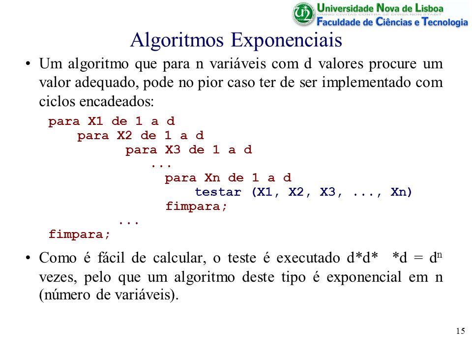 15 Algoritmos Exponenciais Um algoritmo que para n variáveis com d valores procure um valor adequado, pode no pior caso ter de ser implementado com ciclos encadeados: para X1 de 1 a d para X2 de 1 a d para X3 de 1 a d...