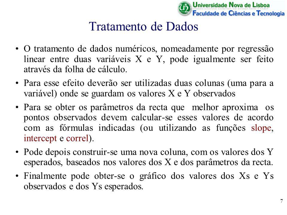 7 Tratamento de Dados O tratamento de dados numéricos, nomeadamente por regressão linear entre duas variáveis X e Y, pode igualmente ser feito através da folha de cálculo.