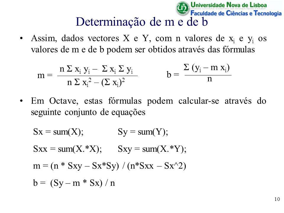 10 Determinação de m e de b Assim, dados vectores X e Y, com n valores de x i e y i os valores de m e de b podem ser obtidos através das fórmulas n Σ x i y i – Σ x i Σ y i n Σ x i 2 – (Σ x i ) 2 m = Σ (y i – m x i ) n b = Sx = sum(X); Sy = sum(Y); Sxx = sum(X.*X); Sxy = sum(X.*Y); m = (n * Sxy – Sx*Sy) / (n*Sxx – Sx^2) b = (Sy – m * Sx) / n Em Octave, estas fórmulas podem calcular-se através do seguinte conjunto de equações
