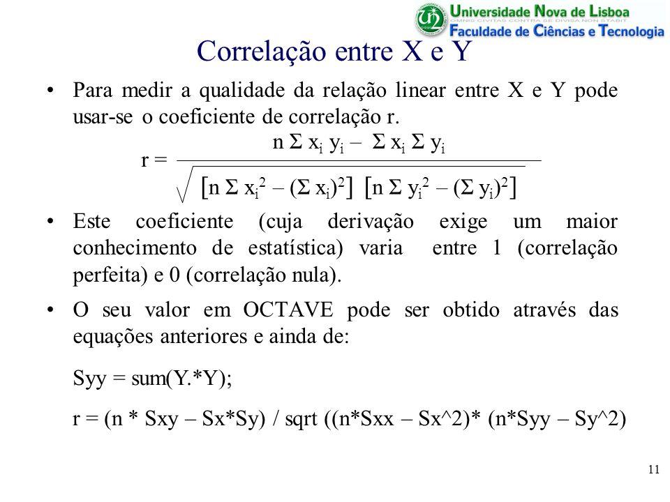 11 Correlação entre X e Y Para medir a qualidade da relação linear entre X e Y pode usar-se o coeficiente de correlação r.