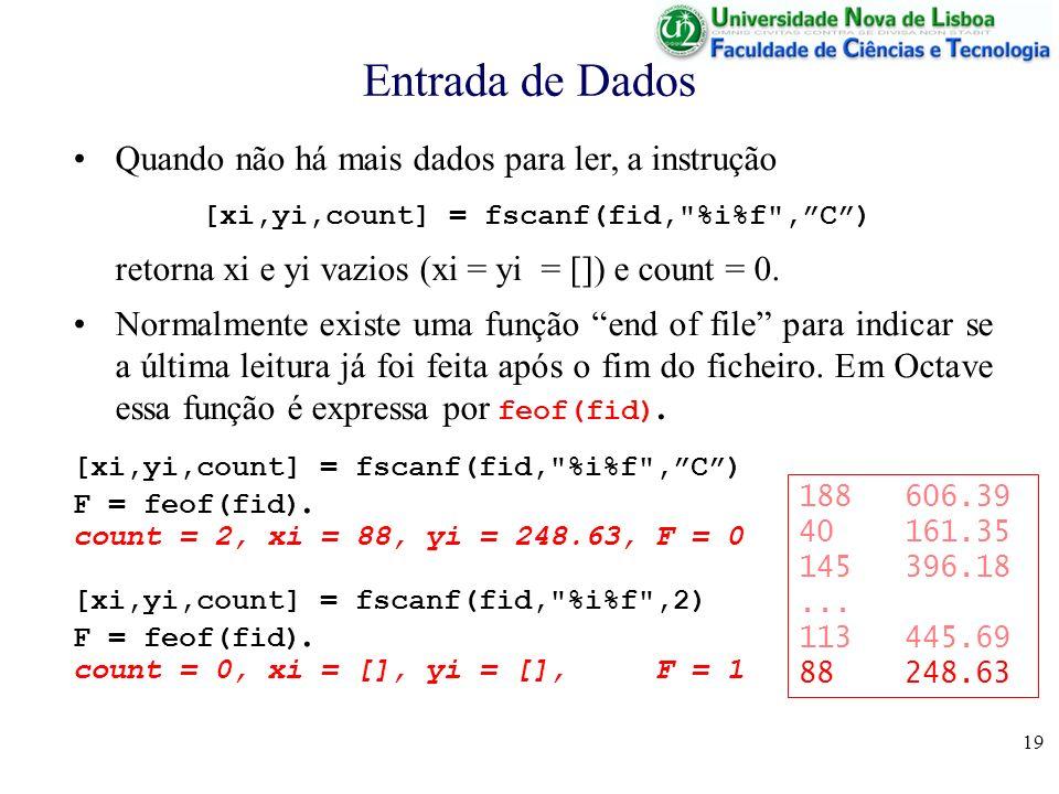 19 Entrada de Dados [xi,yi,count] = fscanf(fid, %i%f ,C) F = feof(fid).