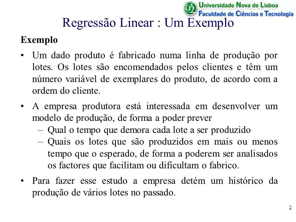 2 Regressão Linear : Um Exemplo Exemplo Um dado produto é fabricado numa linha de produção por lotes.