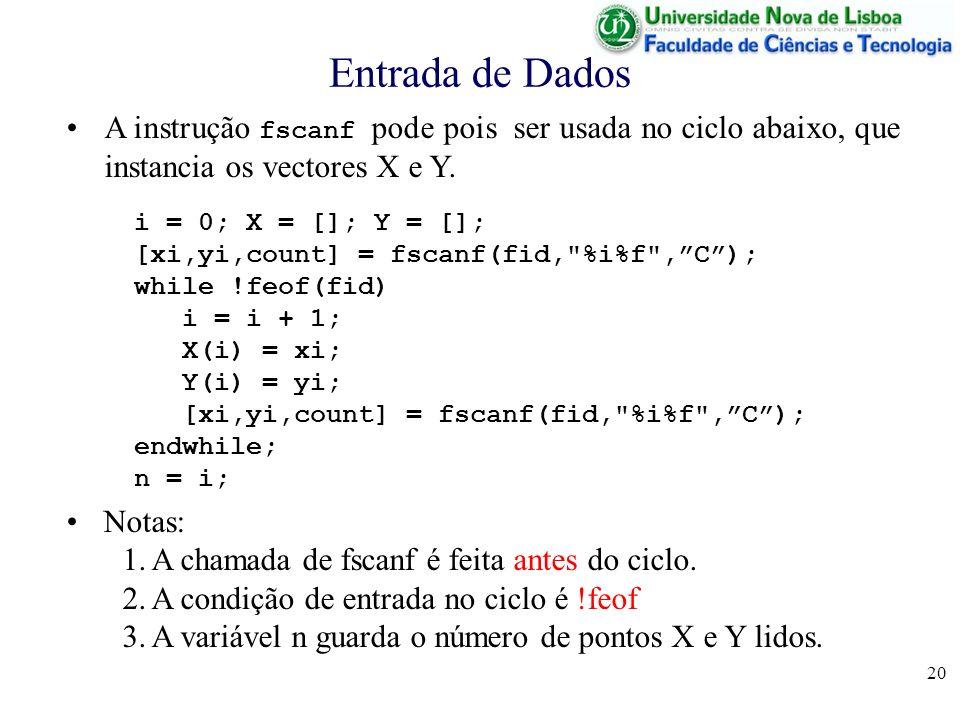20 Entrada de Dados i = 0; X = []; Y = []; [xi,yi,count] = fscanf(fid, %i%f ,C); while !feof(fid) i = i + 1; X(i) = xi; Y(i) = yi; [xi,yi,count] = fscanf(fid, %i%f ,C); endwhile; n = i; A instrução fscanf pode pois ser usada no ciclo abaixo, que instancia os vectores X e Y.