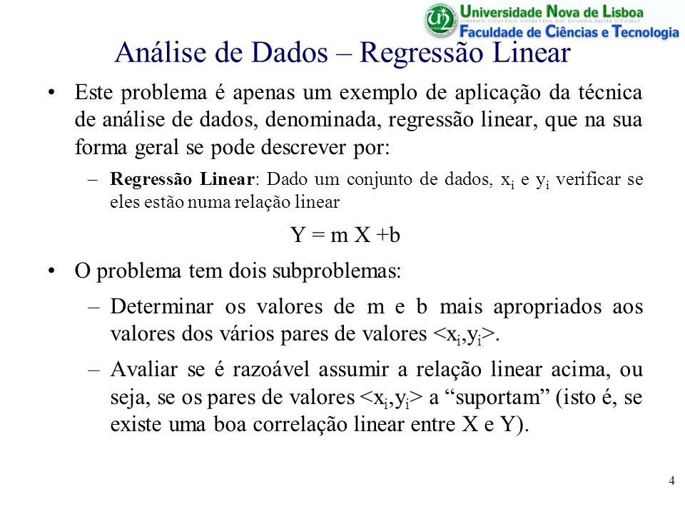 4 Análise de Dados – Regressão Linear Este problema é apenas um exemplo de aplicação da técnica de análise de dados, denominada, regressão linear, que na sua forma geral se pode descrever por: –Regressão Linear: Dado um conjunto de dados, x i e y i verificar se eles estão numa relação linear Y = m X +b O problema tem dois subproblemas: –Determinar os valores de m e b mais apropriados aos valores dos vários pares de valores.