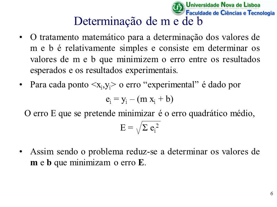6 Determinação de m e de b O tratamento matemático para a determinação dos valores de m e b é relativamente simples e consiste em determinar os valores de m e b que minimizem o erro entre os resultados esperados e os resultados experimentais.
