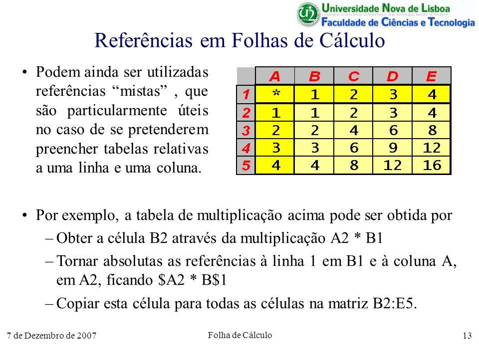 7 de Dezembro de 2007 Folha de Cálculo 13 Referências em Folhas de Cálculo Podem ainda ser utilizadas referências mistas, que são particularmente útei