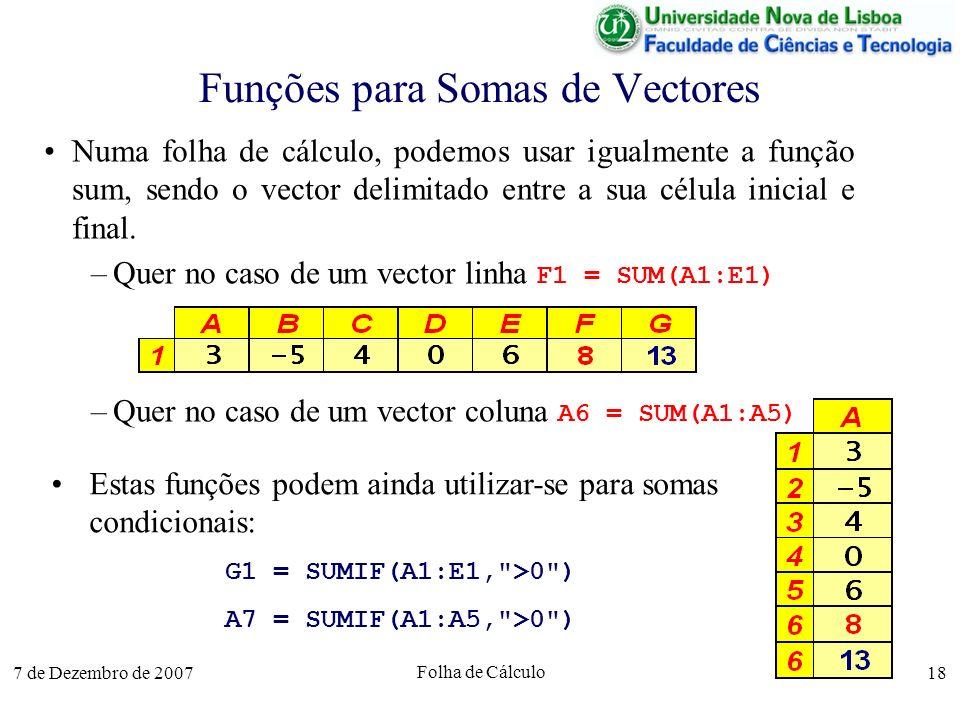 7 de Dezembro de 2007 Folha de Cálculo 18 Funções para Somas de Vectores Numa folha de cálculo, podemos usar igualmente a função sum, sendo o vector d
