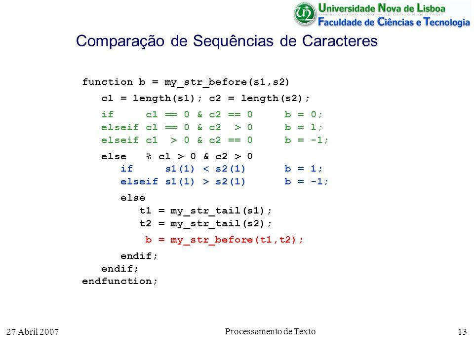 27 Abril 2007 Processamento de Texto 13 Comparação de Sequências de Caracteres function b = my_str_before(s1,s2) c1 = length(s1); c2 = length(s2); if