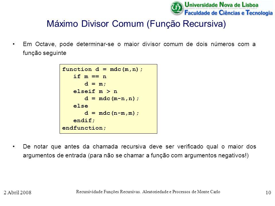 2 Abril 2008 Recursividade Funções Recursivas. Aleatoriedade e Processos de Monte Carlo 10 Máximo Divisor Comum (Função Recursiva) Em Octave, pode det