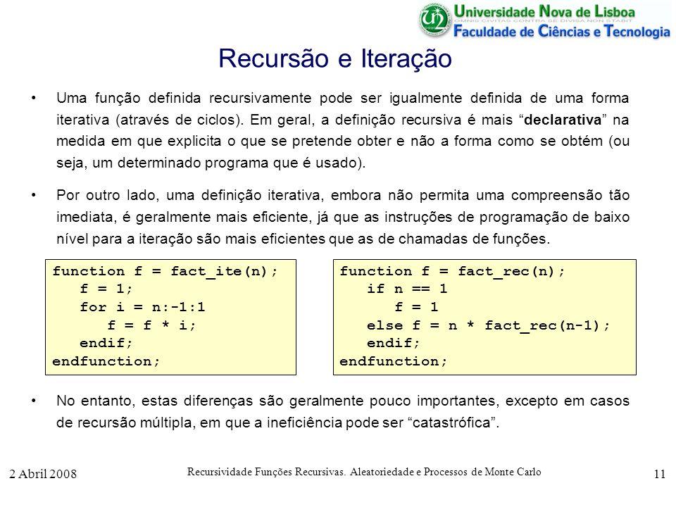 2 Abril 2008 Recursividade Funções Recursivas. Aleatoriedade e Processos de Monte Carlo 11 Recursão e Iteração Uma função definida recursivamente pode