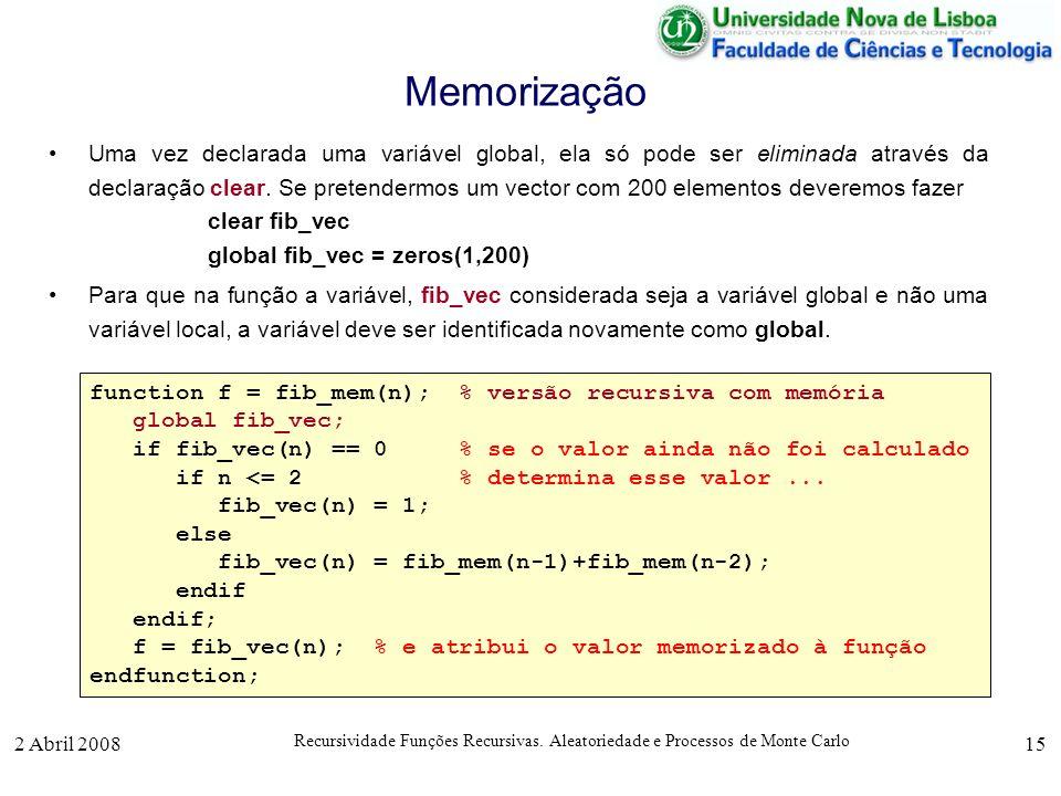 2 Abril 2008 Recursividade Funções Recursivas. Aleatoriedade e Processos de Monte Carlo 15 Memorização Uma vez declarada uma variável global, ela só p