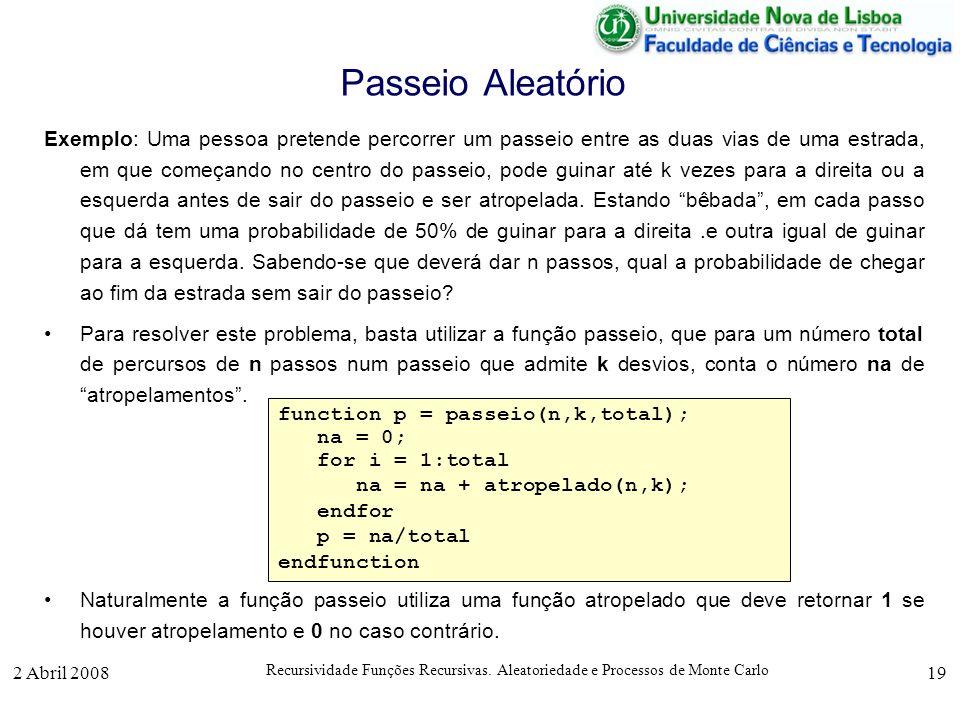2 Abril 2008 Recursividade Funções Recursivas. Aleatoriedade e Processos de Monte Carlo 19 Passeio Aleatório Exemplo: Uma pessoa pretende percorrer um