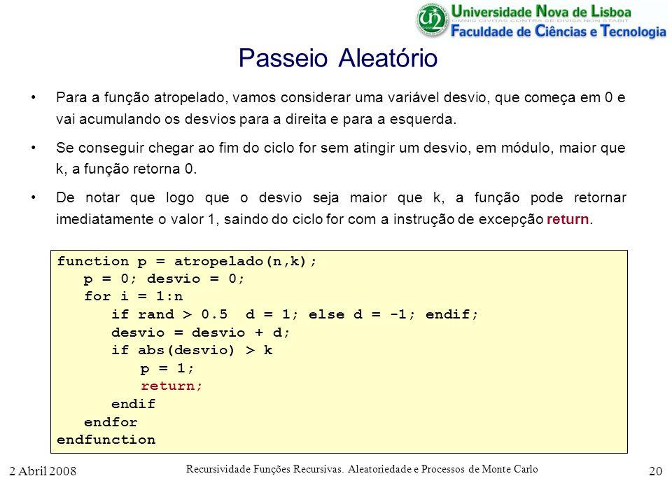 2 Abril 2008 Recursividade Funções Recursivas. Aleatoriedade e Processos de Monte Carlo 20 Passeio Aleatório Para a função atropelado, vamos considera