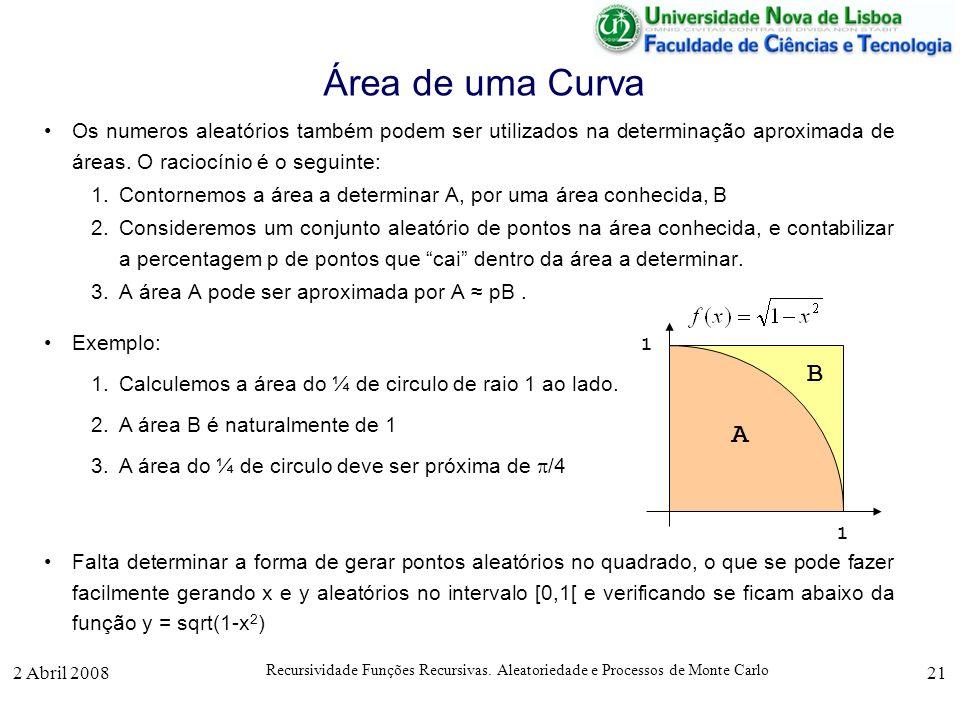 2 Abril 2008 Recursividade Funções Recursivas. Aleatoriedade e Processos de Monte Carlo 21 Área de uma Curva Os numeros aleatórios também podem ser ut