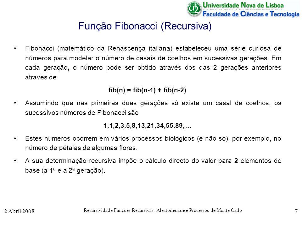 2 Abril 2008 Recursividade Funções Recursivas. Aleatoriedade e Processos de Monte Carlo 7 Função Fibonacci (Recursiva) Fibonacci (matemático da Renasc