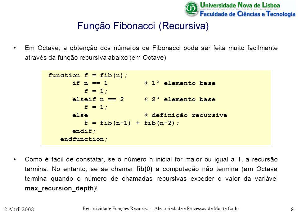 2 Abril 2008 Recursividade Funções Recursivas. Aleatoriedade e Processos de Monte Carlo 8 Função Fibonacci (Recursiva) Em Octave, a obtenção dos númer