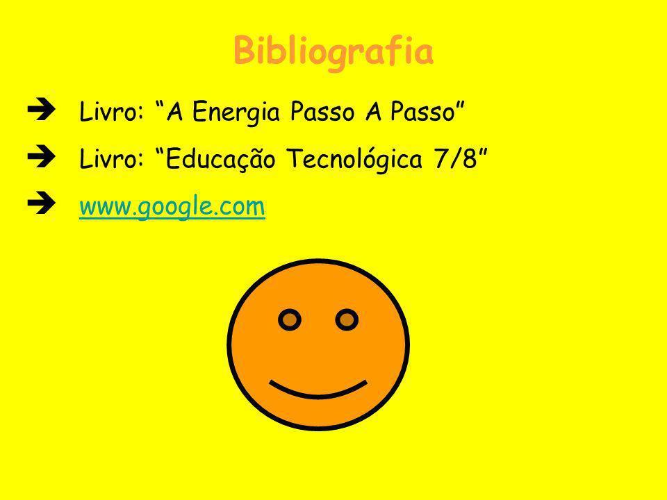 Bibliografia Livro: A Energia Passo A Passo Livro: Educação Tecnológica 7/8 www.google.com