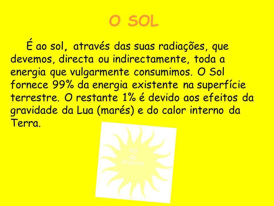 O SOL É ao sol, através das suas radiações, que devemos, directa ou indirectamente, toda a energia que vulgarmente consumimos. O Sol fornece 99% da en