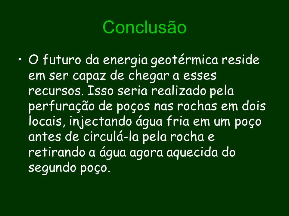 Conclusão O futuro da energia geotérmica reside em ser capaz de chegar a esses recursos. Isso seria realizado pela perfuração de poços nas rochas em d
