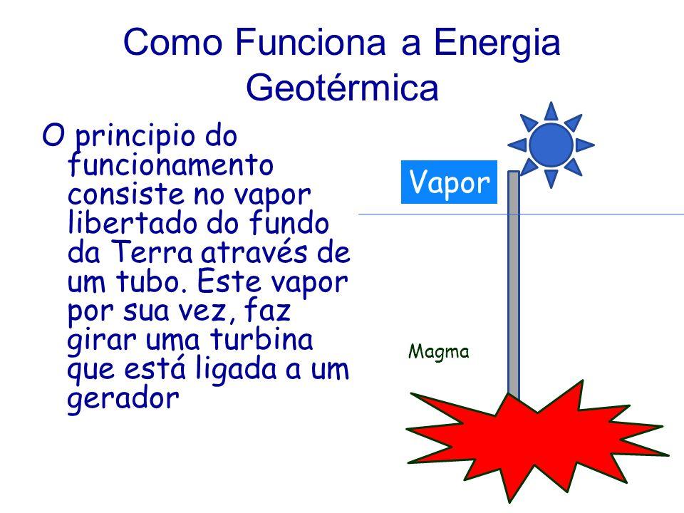 Como Funciona a Energia Geotérmica O principio do funcionamento consiste no vapor libertado do fundo da Terra através de um tubo. Este vapor por sua v