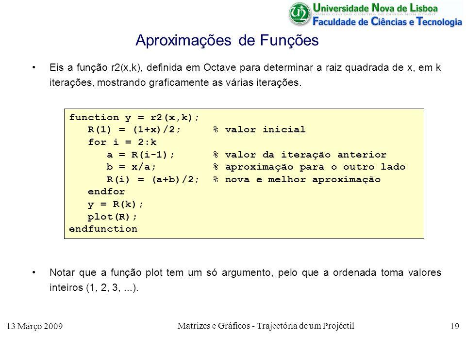13 Março 2009 Matrizes e Gráficos - Trajectória de um Projéctil 19 Aproximações de Funções Eis a função r2(x,k), definida em Octave para determinar a raiz quadrada de x, em k iterações, mostrando graficamente as várias iterações.