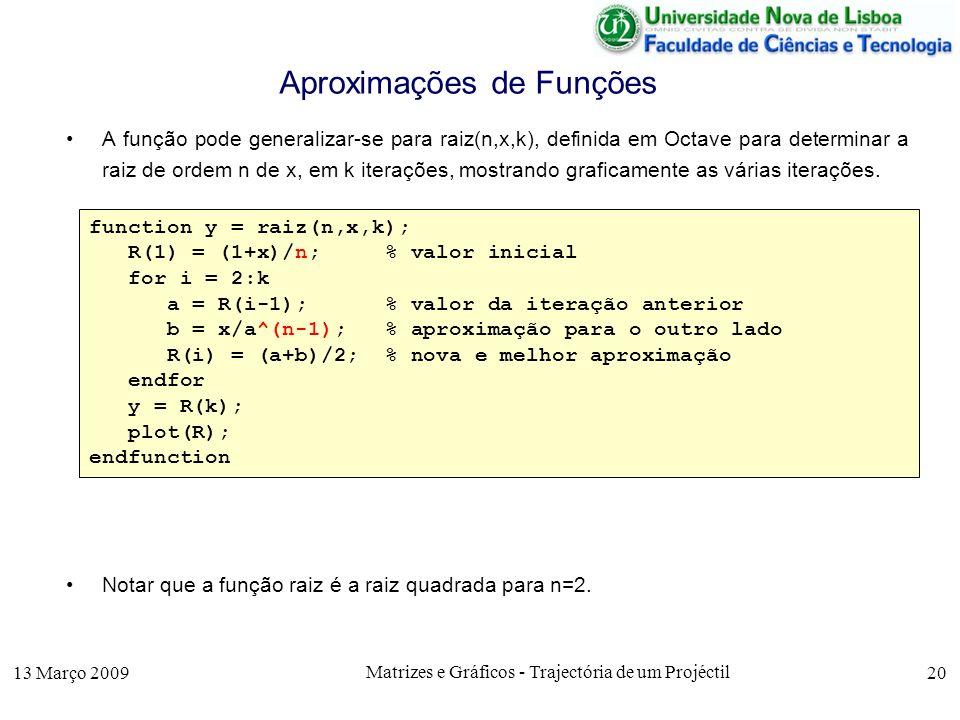 13 Março 2009 Matrizes e Gráficos - Trajectória de um Projéctil 20 Aproximações de Funções A função pode generalizar-se para raiz(n,x,k), definida em Octave para determinar a raiz de ordem n de x, em k iterações, mostrando graficamente as várias iterações.