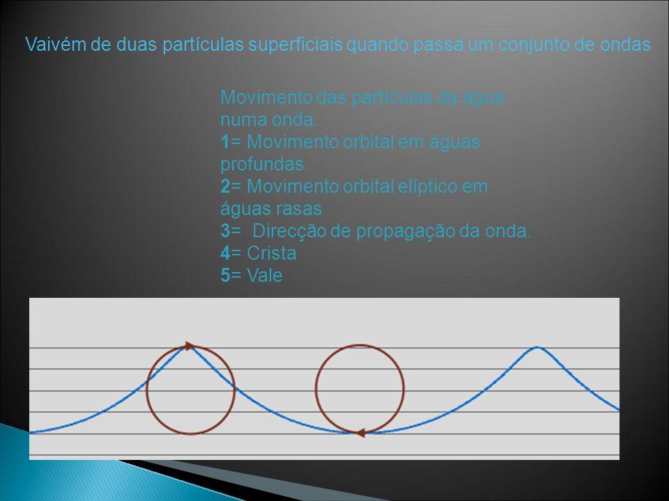 Movimento das partículas da água numa onda. 1= Movimento orbital em águas profundas 2= Movimento orbital elíptico em águas rasas 3= Direcção de propag