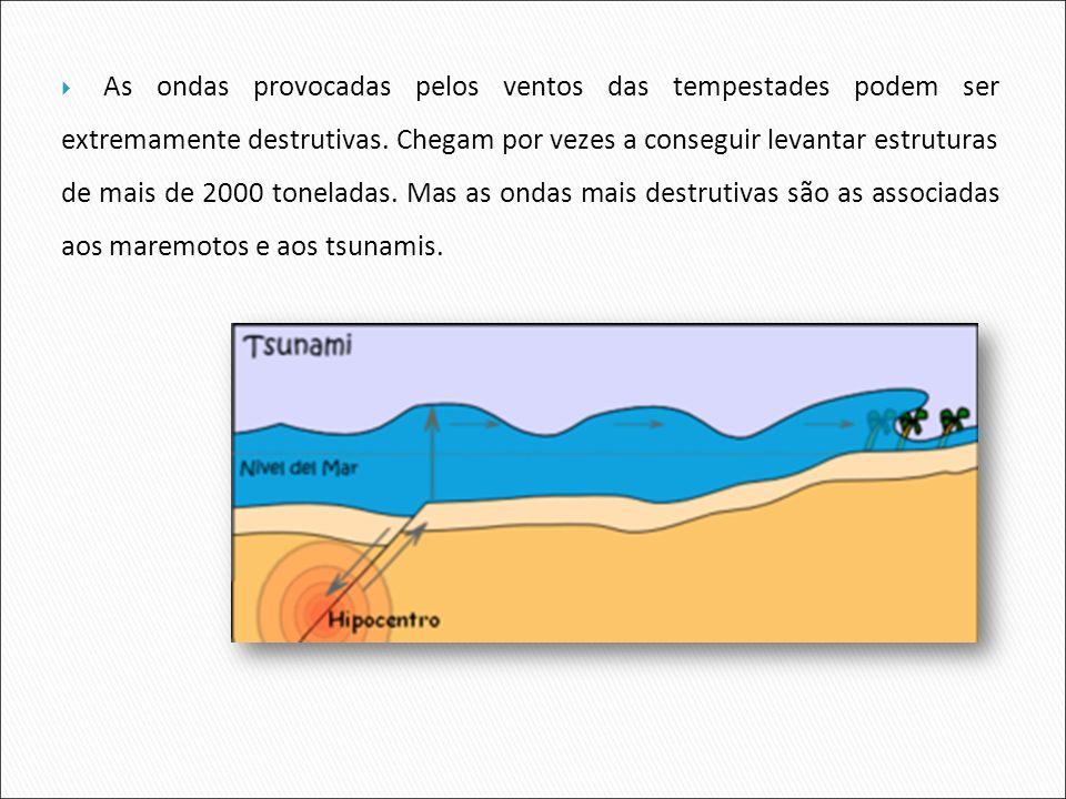 As ondas provocadas pelos ventos das tempestades podem ser extremamente destrutivas. Chegam por vezes a conseguir levantar estruturas de mais de 2000