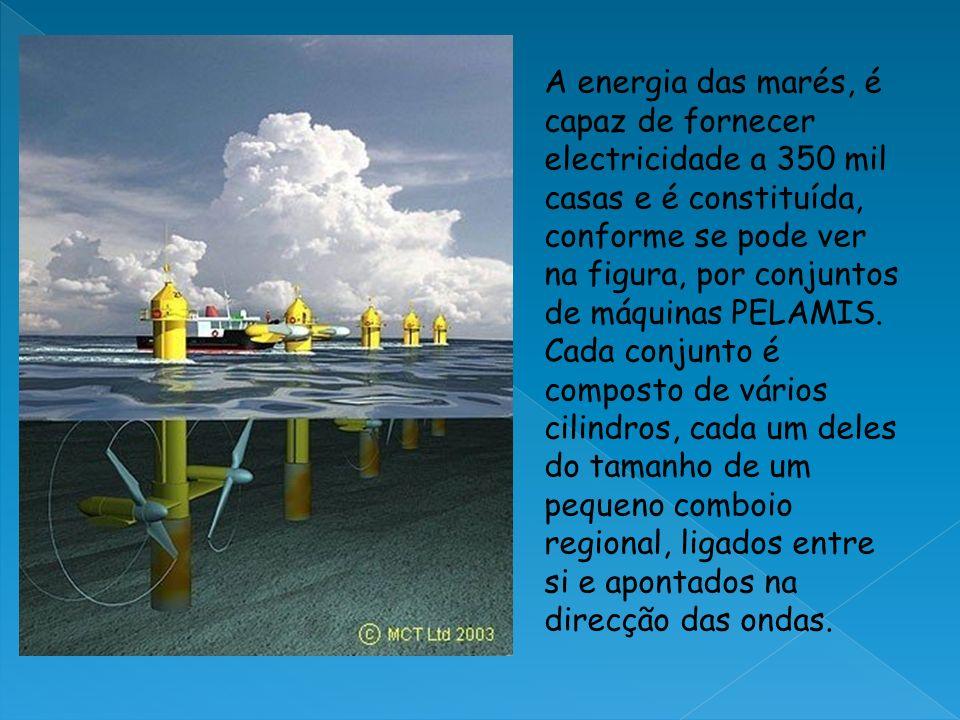 A energia das marés, é capaz de fornecer electricidade a 350 mil casas e é constituída, conforme se pode ver na figura, por conjuntos de máquinas PELA