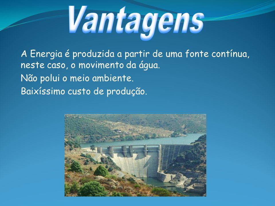A Energia é produzida a partir de uma fonte contínua, neste caso, o movimento da água. Não polui o meio ambiente. Baixíssimo custo de produção.
