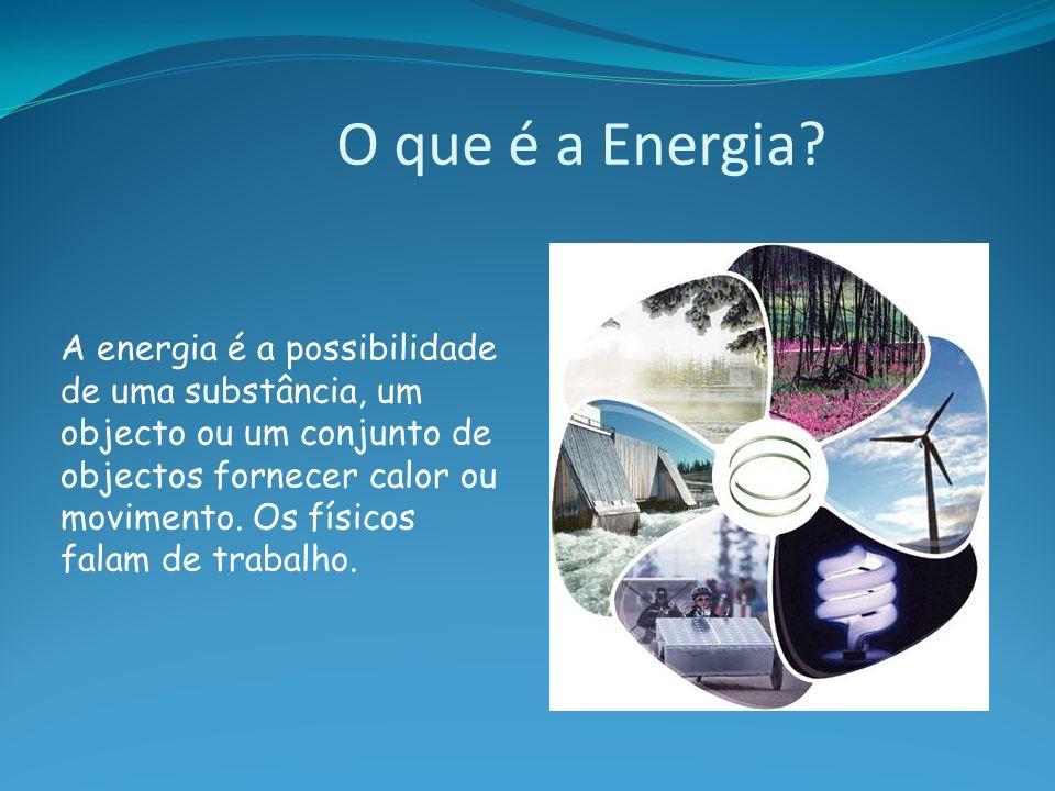 O que é a Energia? A energia é a possibilidade de uma substância, um objecto ou um conjunto de objectos fornecer calor ou movimento. Os físicos falam