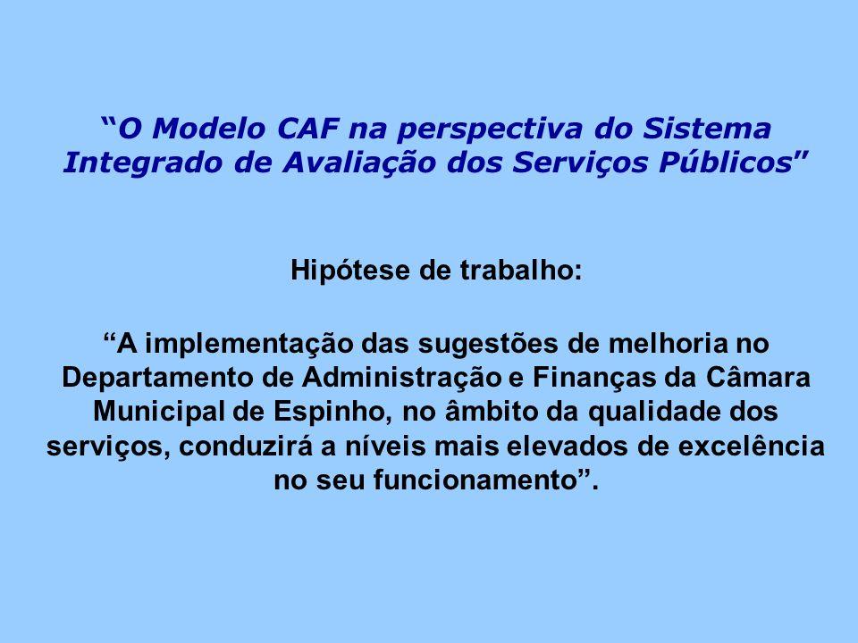 O Modelo CAF na perspectiva do Sistema Integrado de Avaliação dos Serviços Públicos Hipótese de trabalho: A implementação das sugestões de melhoria no