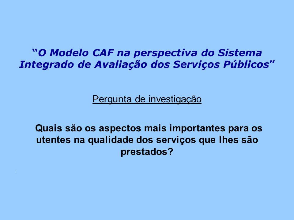 O Modelo CAF na perspectiva do Sistema Integrado de Avaliação dos Serviços Públicos Pergunta de investigação Quais são os aspectos mais importantes pa