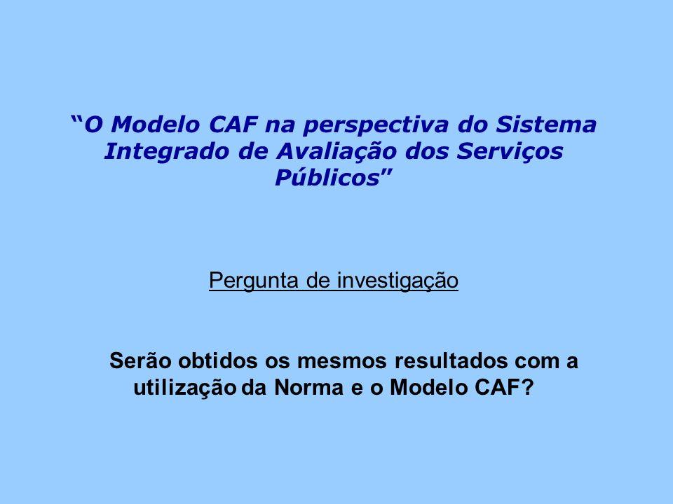O Modelo CAF na perspectiva do Sistema Integrado de Avaliação dos Serviços Públicos Pergunta de investigação Serão obtidos os mesmos resultados com a