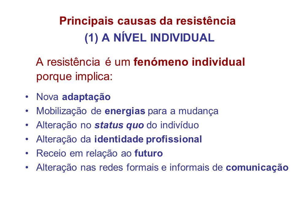 Principais causas da resistência (1) A NÍVEL INDIVIDUAL A resistência é um fenómeno individual porque implica: Nova adaptação Mobilização de energias