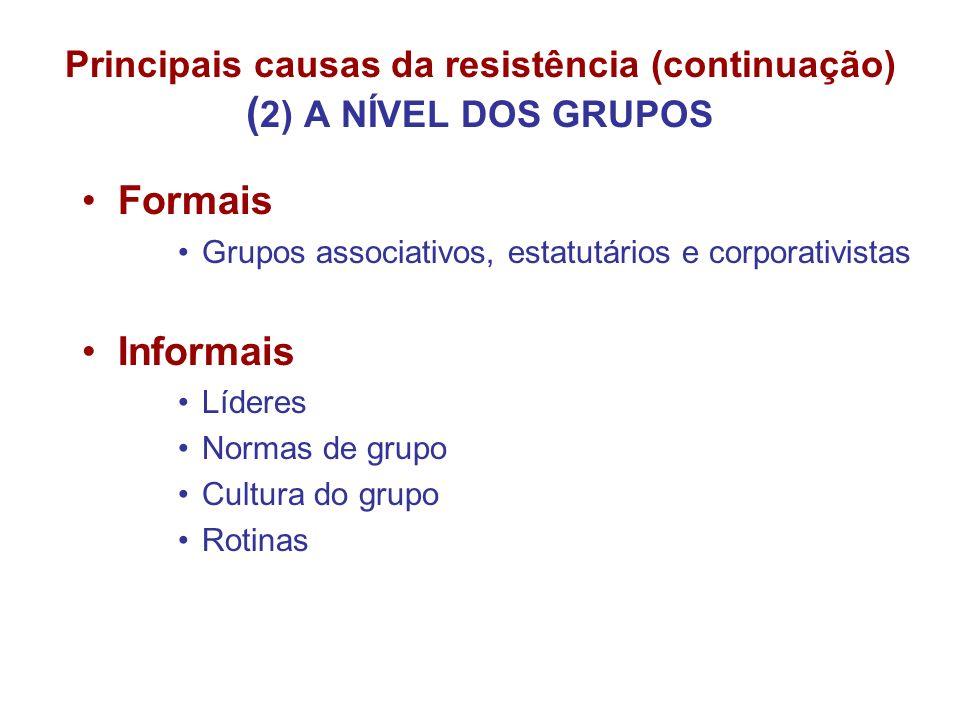 Principais causas da resistência (continuação) ( 2) A NÍVEL DOS GRUPOS Formais Grupos associativos, estatutários e corporativistas Informais Líderes N