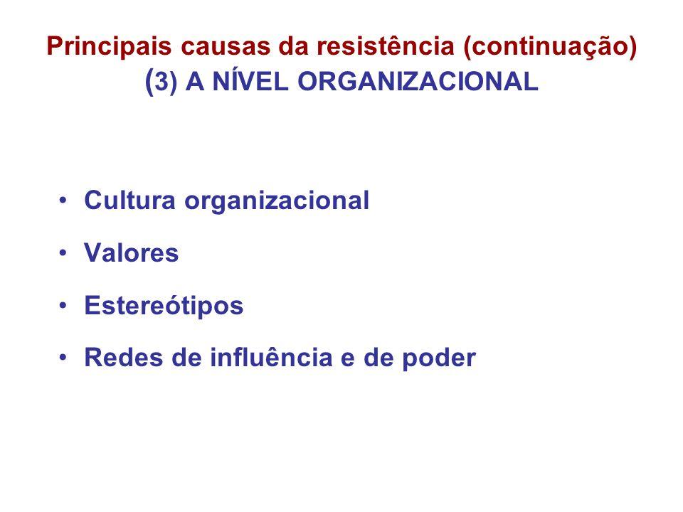 Principais causas da resistência (continuação) ( 3) A NÍVEL ORGANIZACIONAL Cultura organizacional Valores Estereótipos Redes de influência e de poder
