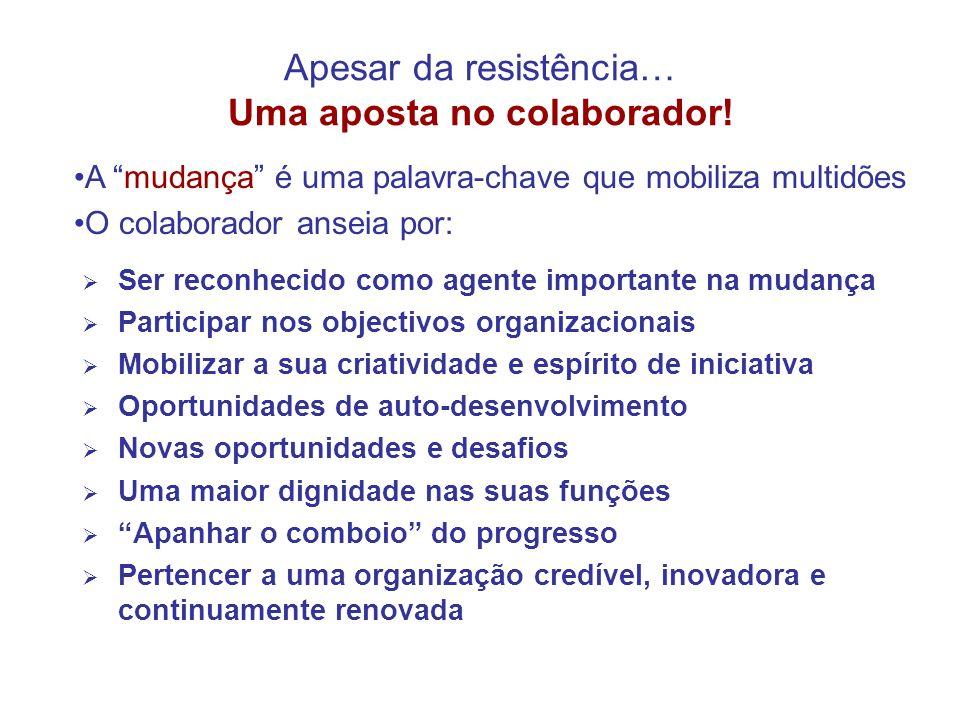 Apesar da resistência… Uma aposta no colaborador! Ser reconhecido como agente importante na mudança Participar nos objectivos organizacionais Mobiliza