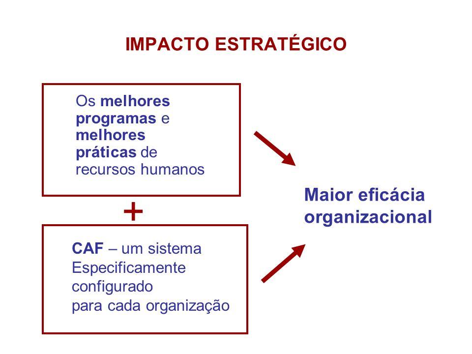 IMPACTO ESTRATÉGICO Os melhores programas e melhores práticas de recursos humanos CAF – um sistema Especificamente configurado para cada organização +